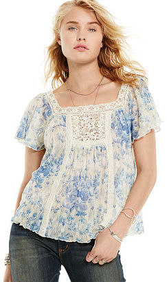 Ralph Lauren Denim & Supply Floral Lace-Bib Boho Top $69.50 thestylecure.com