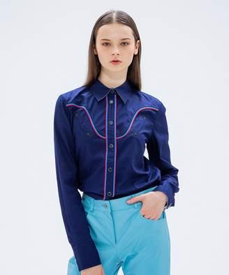 Calvin Klein (カルバン クライン) - CK CALVIN KLEIN WOMEN 【パイピング】コットンブロードクロス シャツ(C)FDB