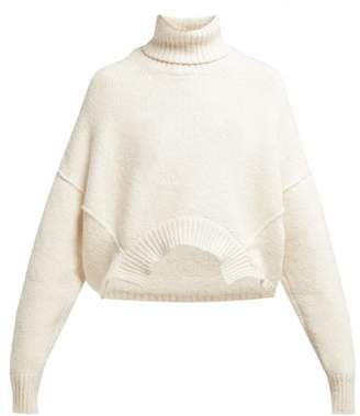 Golden Goose Oversized Roll Neck Cotton And Wool Blend Sweater - Womens - White