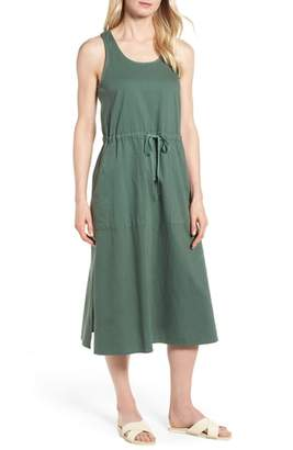 Eileen Fisher Drawstring Organic Cotton Midi Dress
