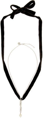 Miu Miu Silver and Black Choker Necklace