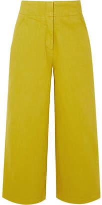 Tibi Cropped Stretch-cotton Twill Wide-leg Pants