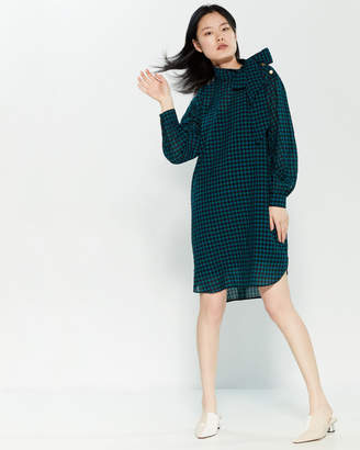 Alysi Vichy Long Sleeve Shift Dress