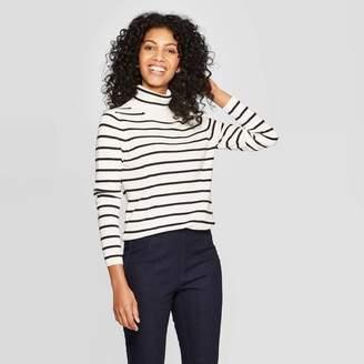 A New Day Women's Striped Long Sleeve Rib Turtleneck Sweater Cream