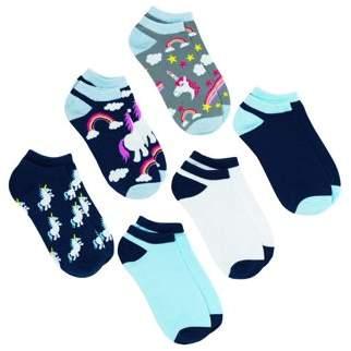 No Boundaries Unicorns Low Rise Ladies Socks 6 Pack