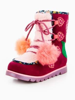 Irregular Choice Girls Mini Warmer Pom Pom Snow Boot