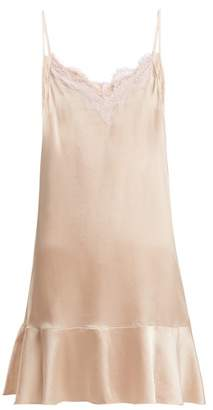 Icons Jasmin Lace And Silk Satin Slip Dress - Womens - Light Pink