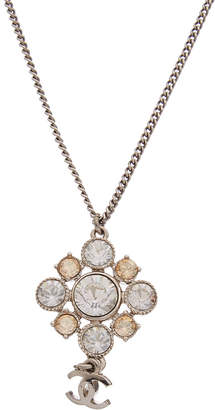 Chanel Silver-Tone & Crystal Cluster Necklace