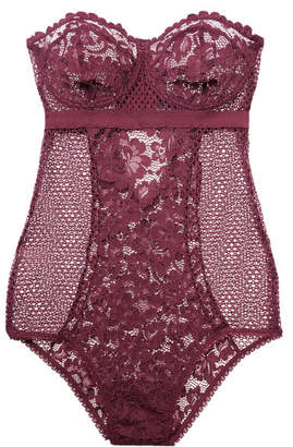 Else - Petunia Cutout Underwired Stretch-mesh And Corded Lace Bodysuit - Plum