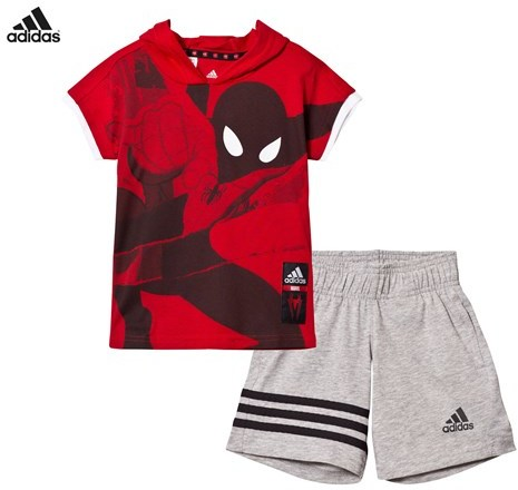 adidas Red Spiderman Shorts and Tee Set