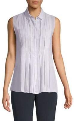 Akris Pleated Cotton & Silk Top
