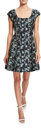 Zac Posen Wildflower Jacquard Cap-Sleeve Dress