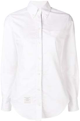 Thom Browne White Duck Embroidery Point Collar Shirt
