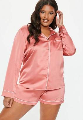 Missguided Plus Size Pink Satin Pyjama Set