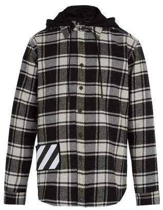 Off-white - Checked Cotton Blend Hooded Shirt - Mens - Grey