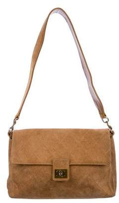 Chanel Suede Diamond Quilt Shoulder Bag