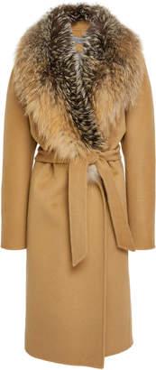 Pologeorgis Georgina Fox Fur-Trimmed Wool Coat