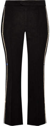 Isabel Marant Philea Swarovski Crystal-embellished Felt Straight-leg Pants - Black
