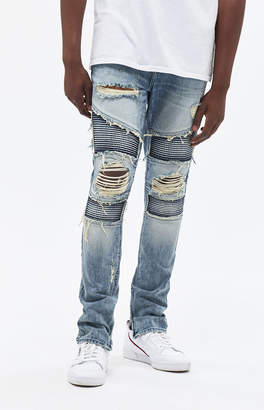 PacSun Stacked Skinny Moto Fray Medium Jeans