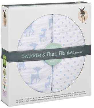 Lassig Swaddle and Burp Blanket, X-Large, 120 x 120 cm, Light Blue, Pack of 2