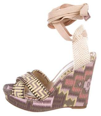 Stuart Weitzman X Theodora Callum Printed Wedge Sandals