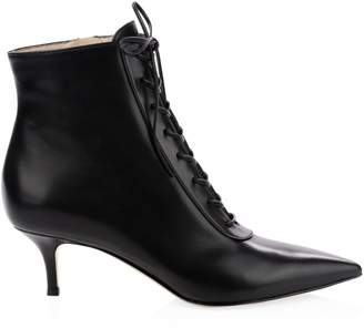 Gianvito Rossi Leather Lace-Up Kitten Heel Booties