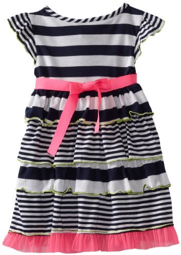 Dollie & Me Girls 2-6X Striped Tiered Dress with Doll Garment