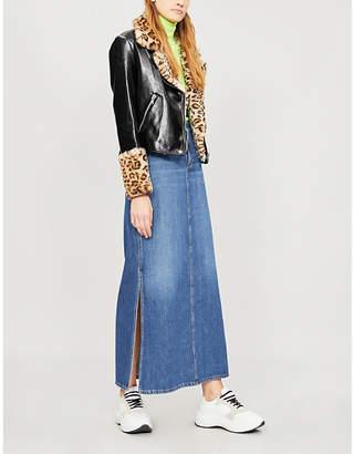 Shrimps Maisie leopard-print faux-fur trimmed leather jacket