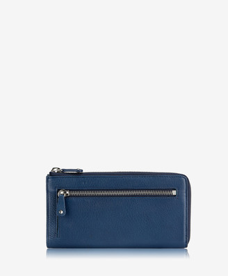 GiGi New York Large Wallet with Gusset, Navy Deerskin