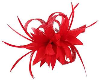 La Vogue Women Small Sinamay Fascinators Feather Flowers Hair Clip Bridal