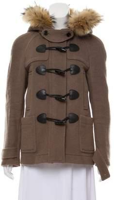Burberry Fur-Trimmed Wool Jacket