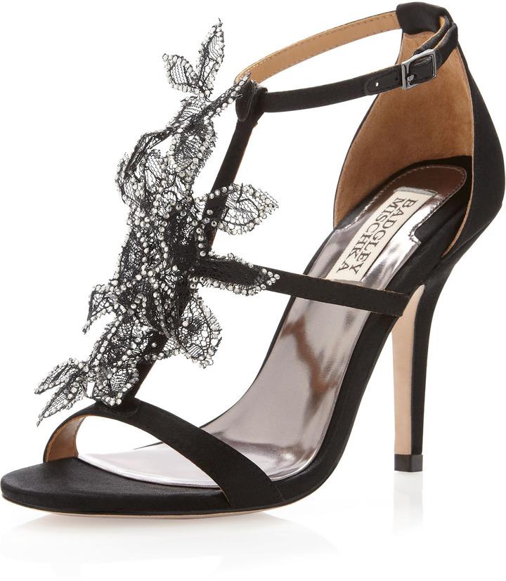 Badgley Mischka Renita Mesh Flower Sandal, Black