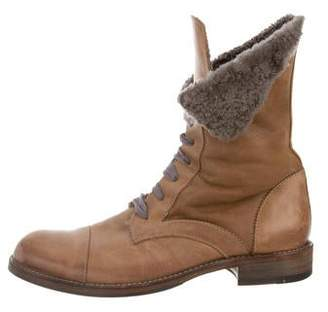 Brunello Cucinelli Leather Round-Toe Boots