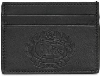 Burberry Embossed Crest Leather Card Case