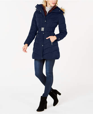Tommy Hilfiger (トミー ヒルフィガー) - Tommy Hilfiger Petite Faux Fur Hooded Contrast Bib Belted Puffer Coat