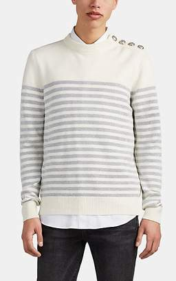 Balmain Men's Metallic-Striped Wool-Blend Crewneck Sweater - White