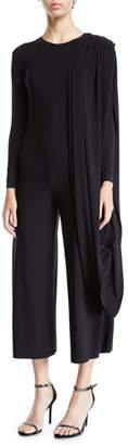 Norma Kamali Long-Sleeve Draped Cropped Jumpsuit