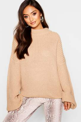 boohoo Petite Oversized Bell Sleeve Thick Knit Sweater