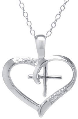 Silver Cross SILVER TREASURES Silver Treasures Cubic Zirconia Sterling Heart Pendant Necklace