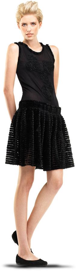 Max Studio Mixed Mesh Lace Dress