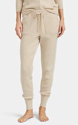 Arlotta by Chris Women's Striped Rib-Knit Cashmere Jogger Pants - Light Beige