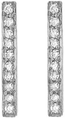 Jennifer Meyer Diamond Long Bar Stud Earrings - White Gold