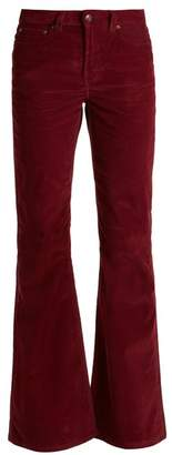 Rockins - High Rise Cotton Blend Corduroy Flared Trousers - Womens - Burgundy