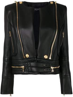Balmain metallic details leather jacket