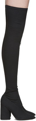 YEEZY Black Canvas Thigh-High Boots $695 thestylecure.com