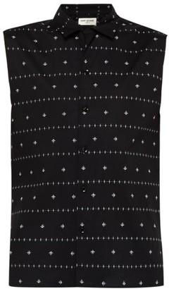 Saint Laurent Orchid Print Sleeveless Cotton Poplin Shirt - Mens - Black Cream