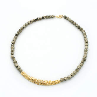 Gia Belloni Pyrite Long Textured Necklace