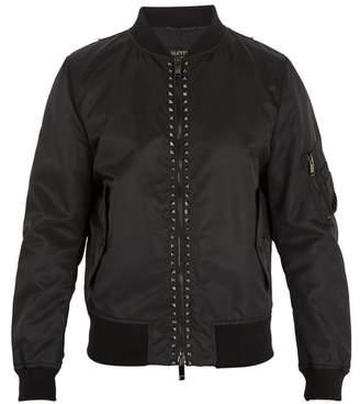 Valentino Rockstud Untitled #15 Shell Bomber Jacket - Mens - Black