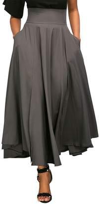Lrud Women's High Waist Pleated Belted A-Line Ruffle Pocket Flared Maxi Skirt