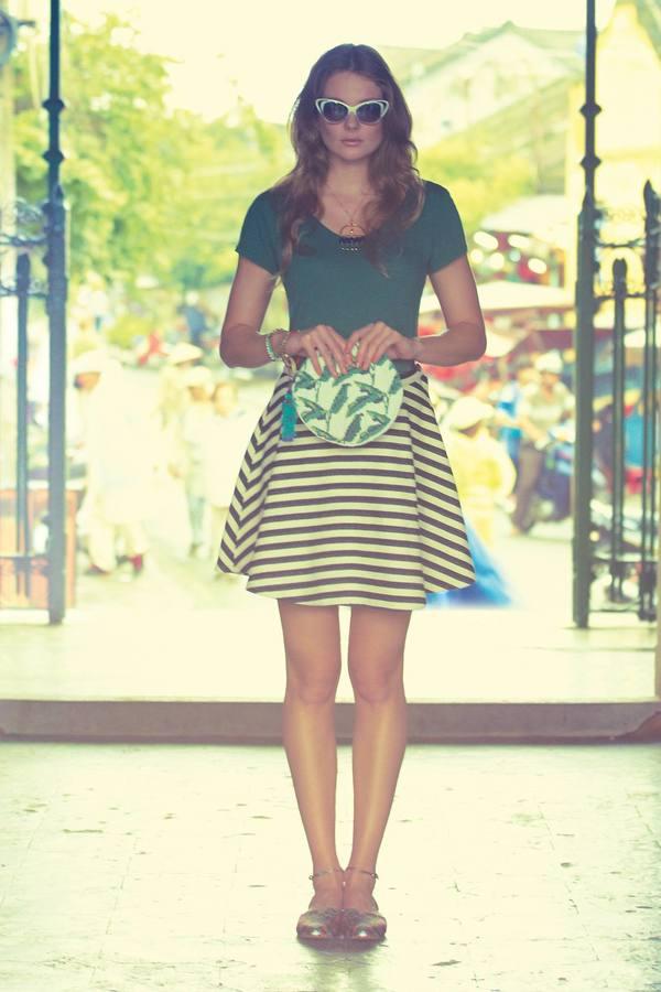 Anthropologie Greylin Stripeswing Skirt